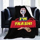 YangYanYan I'm Trash - Forkie Forky - Toy Story Ultra Soft Flannel Fleece Blanket Throw Blanket Season Light Weight Cozy Plush Blankets