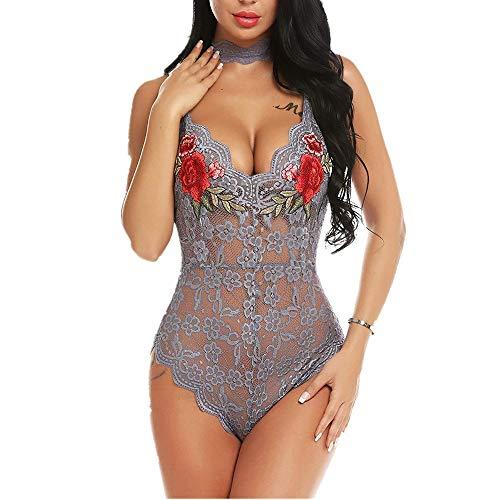 Jmsc Sexy Donna Senza Maniche Body Pizzo Trasparente Body Top Rosa Stampato Decorazione Elegante Tuta Outfit Sexy Attraente Pigiama Chic Tuta Lingerie Seducente L