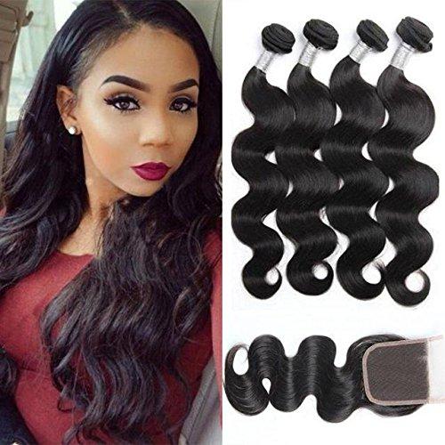 Maxine Lot de 3 mèches de cheveux brésiliens Épais Ondulés Cheveux naturels vierges 8A Avec attache Noir