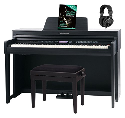 Classic Cantabile DP-A 610 E-Piano Set (88 Tasten Hammer-Mechanik, 1200 Voices und 38 DSP Effekte, Bluetooth-Streaming, Begleitfunktionen mit 270 Styles, inkl. Bank, Kopfhörer & Schule) Schwarz matt