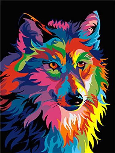 Pintura por números, Lobo animal colorido Kits de Pintar acrílica DIY para Adultos Niños Principiantes Fácil sobre Lienzo 40x50 cm con Pinturas y Pinceles (sin Marco)