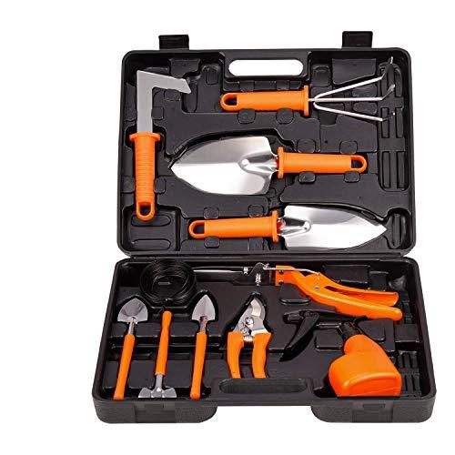 Lelekey Garden Tool Set, 12 Piece Stainless Steel Hand Tool Kit with Shovel Rake Weeder Pruner Shear Sprayer & Carrying Case, Gardening for Women, Men, Gardener & Plant Lover (Orange)