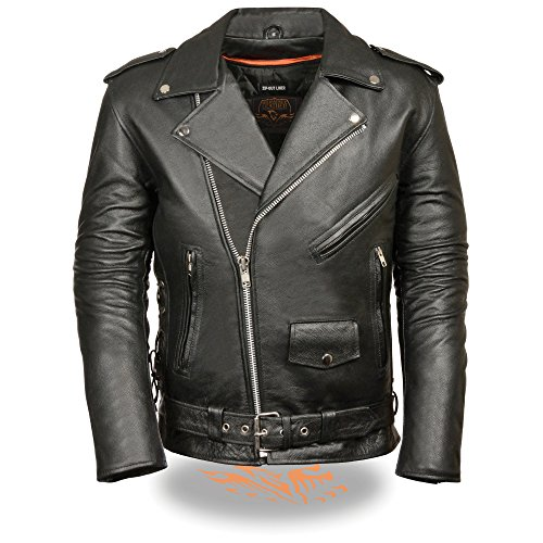 Mens Leather Side Lace Police Style Motorcycle Jacket, Black Size XL