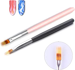 WOKOTO 2PCS Black And Pink Nail Ombre Brushes Gradient Painting Pens Brushes With Wood Handle Uv Gel Nail Art Manicure Bru...
