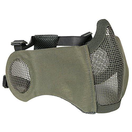 Aoutacc, faltbare Airsoft-Maske, Halbgesicht-Masken mit Ohrschutz für Kriegsspiele, Jagd, Paintball, grau