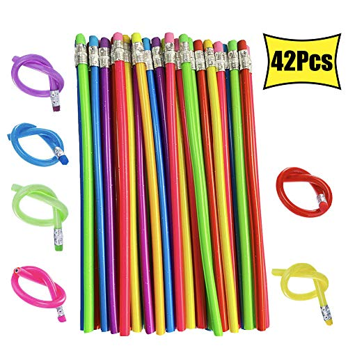 42 PCS Magic Bendable Pencils,Colorful Flexible Soft Pencils with Erasers for Kids Gifts