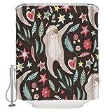 N / A Cartoon Flower Star Bradipo Tenda da doccia in Tessuto Set arredo bagno colorato con ganci