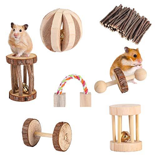 YOUTHINK Hamster Chew Toys 7 PCS Pino de Madera Natural Pequeña Mascota Jugar Morder Ejercicio Cuidado de los Dientes Juego de Juguetes Adecuado para Chinchilla Hamster Conejos Jerbos
