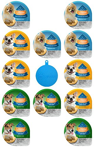 Blue Divine Delights Breakfast Bites for Dogs in 3 Flavors - Steak & Egg; Sausage, Egg & Cheese; and Bacon, Egg & Cheese - 3.5 Oz Ea, 12 Cups Total - Plus Silicone Dog Food Can Cover - 13 Items Total