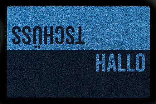 Interluxe TÜRVORLEGER Fußmatte Hallo TSCHÜSS Haustür Eingang Flur 60x40 cm Viele Farben Royalblau