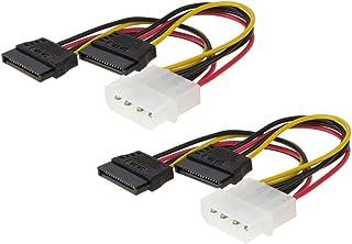Haobase 2Pcs Molex to Dual SATA 4-Inch 4 Pin Molex to 2x SATA Y Splitter Power Cable Adapter