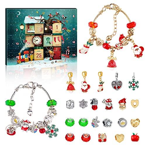 Pulsera Calendario de Adviento 2021,calendario de Adviento de Navidad para niñas, 24 unidades de pulseras de cuentas regresivas para el calendario de Navidad para mujeres y niñas