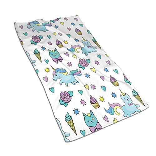 QHMY Mädchen Muster mit Herzen Sterne Blumen Mikrofasertücher 27,5 'x 17,5' Polyester Persönlichkeit Lustiges Muster Super Absorbent für Badezimmer, Küche, Waschauto, Reinigungstuch