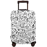 WONDERTIFY Video Games Travel Suitcase Protector Computer Monochrome Kids Funny Monitor Device Gadget Washable Elastic Luggage Cover With Concealed Zipper Black White Fits 18-21 Inch