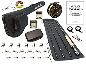 Wild Water Fly Fishing Fortis Series CNC Machined Fly Reel, 9 Foot, 4-Piece, 5/6 Weight Fly Rod Complete Fly Fishing Rod and Reel Combo Starter Package