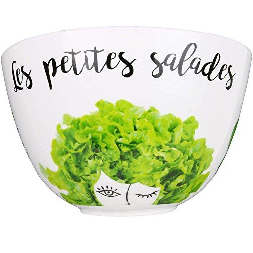 Amatable 37-2K-017 Saladier Les Petites Salades Porcelaine Blanc et Vert D23 x H 12 à 16 cm