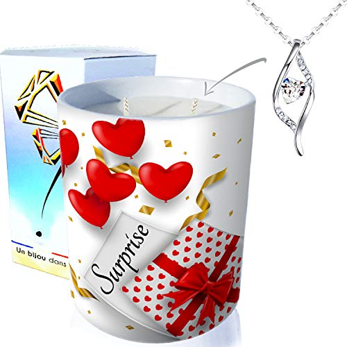 ArtGosse - Vela con joya de plata con cristales de Swarovski® • Vela de 2 mechas decorativas, regalo sorpresa con corazón de cera vegetal, perfumada monoï de Tahití • Colgante ADN