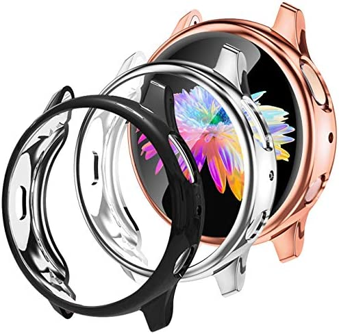 GEAK 3 Pack Case for Galaxy Watch Active 2 40mm,Soft Full Cover Screen Protector for Samsung Galaxy Active 2 Smartwatch 40mm Black/Silver/Rose Gold