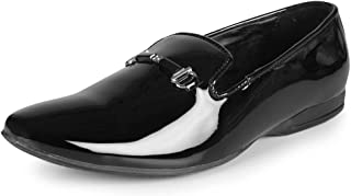 ZAPATOZ Mens Synthetic Leather Black Shoes/Leather Shoes for Men/Formal Shoes for Mens/Official Shoes Men/Slip on Men Formal/Men's Leather Shoes Without Laces