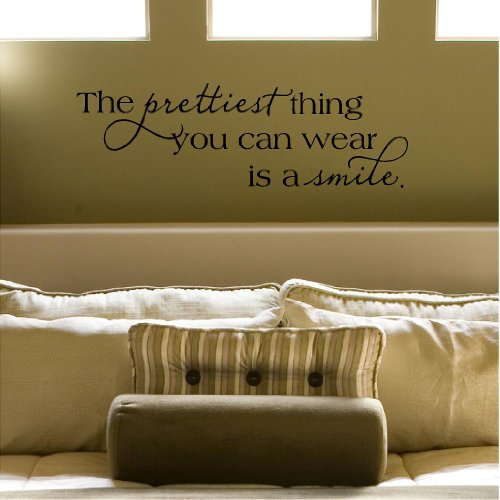 The Prettiest Thing You Can Wear is a Smile Vinyl Lettering Wall Decal Sticker (12.5' H x 39' L, Black)