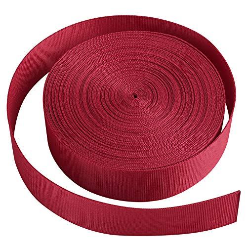 Jalan Correa de cincha Nylon 25 mm x 10 Yards, para Bricolaje, flejes de Mochilas, arneses y Collares de Perro - Rojo