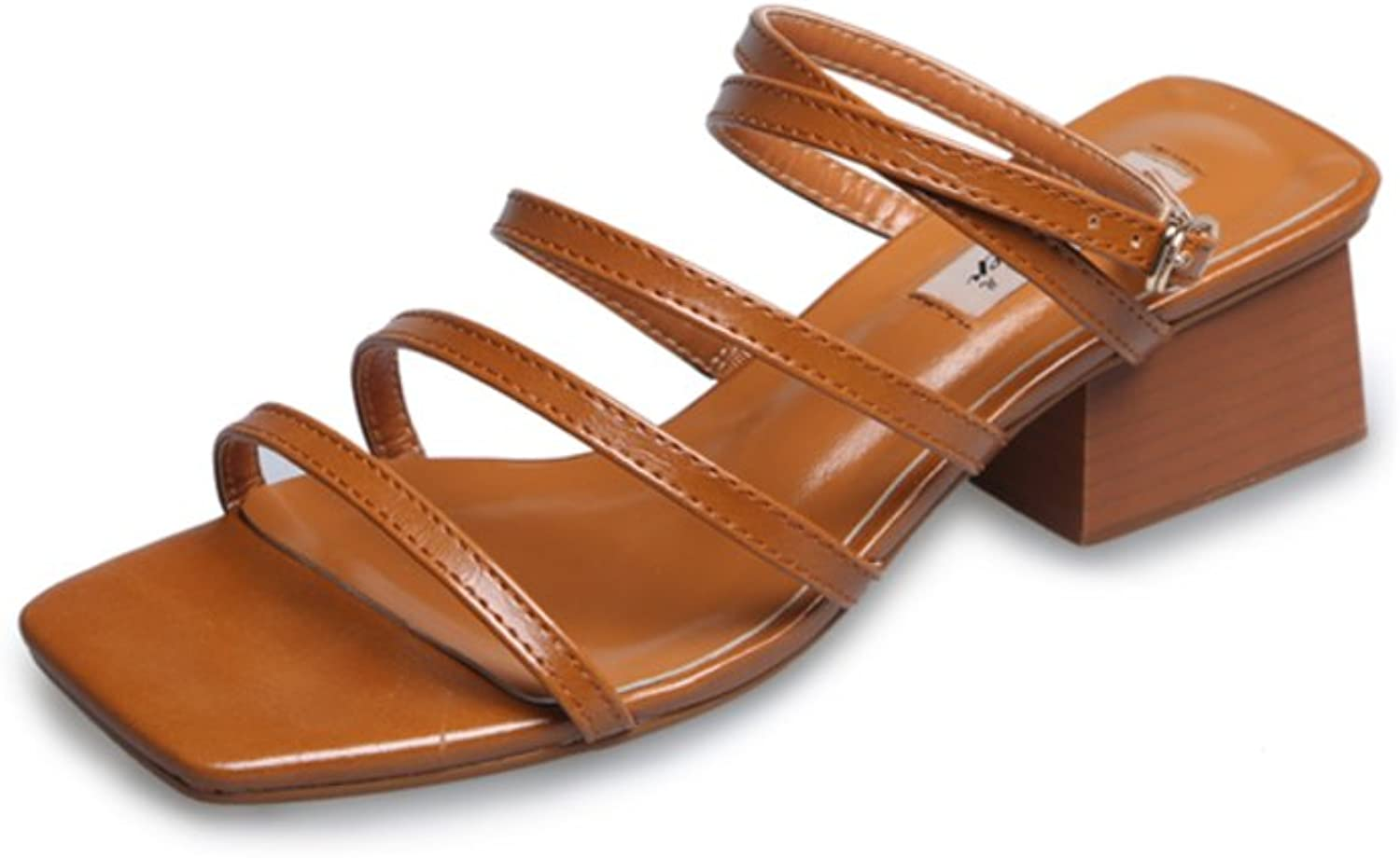 MET RXL Simple,Square Head,A Buckle,Chunky Heel Sandals Lady,Summer,Thin Belt,High Heel