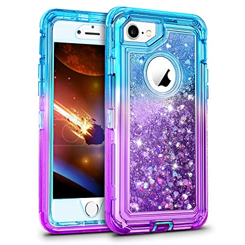WESADN Case for iPhone 6 Case, iPhone 6s Case for Girls Women Cute Glitter Protective 3D Luxury Bling Sparkle Heavy Duty Full Body Protection Shockproof Gradient Cover for iPhone 6 6s 7 8,Teal Purple