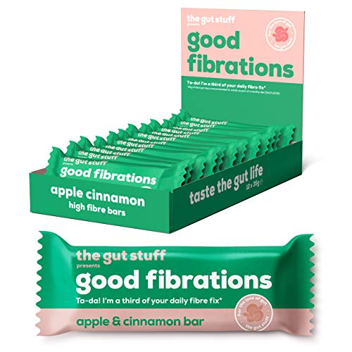 Good Fibrations – High Fibre Snack Bars – Apple & Cinnamon Flavour – 12 x 35g Bar Box – Gluten-Free, Vegan, 146 Calories per Bar