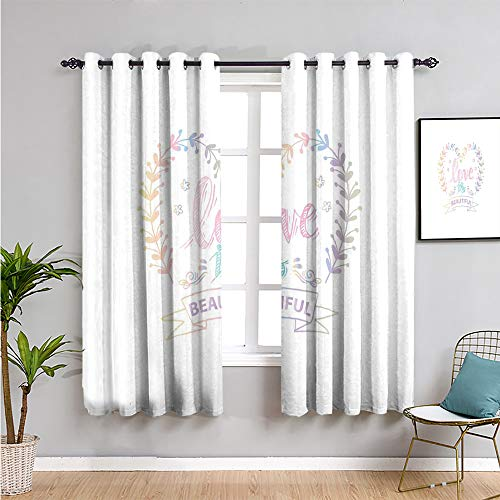 romantic Blackout Curtain, Curtains 63 inch length pastel colored spring inspired frame branches in heart shape with dreamy look Bathroom curtain multicolor W42 x L63 Inch