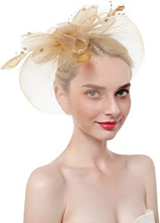 Xiang Ru Large Flax Headwear Gauze Hat Fascinator Mesh Flower with Small Beads for Women