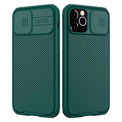 NILLKIN Funda Compatible con iPhone 12 Pro MAX, [Protección de la cámara] Estuche híbrido Parachoques Premium no voluminoso Delgado Funda rígida para PC Compatible con iPhone 12 Pro MAX 6.7'-Verde