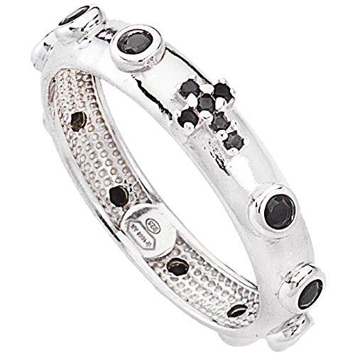 AmenRosenkranz -Ring aus 925er-Silber mit Zirkonia