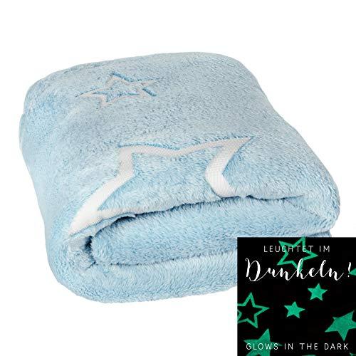 dhal Kuscheldecke Little Stars mit Leuchtenden Sternen 125×150cm Babydecke Krabbeldecke Kinderdecke Fleecedecke Decke (Blau)