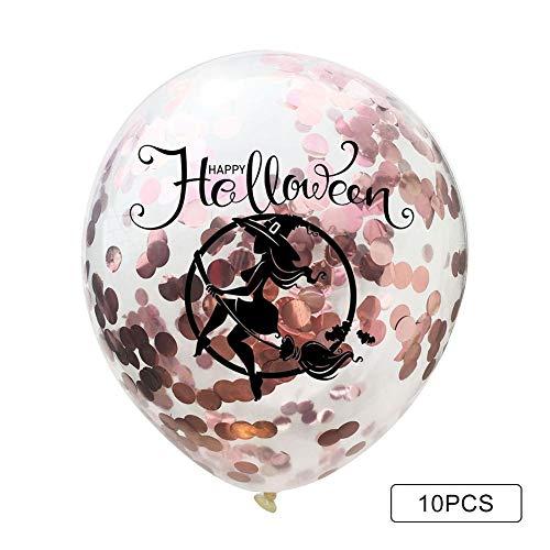 10 Piezas Globos de Fiesta de látex con Globos de Confeti de Oro para Decoraciones de Fiesta Calaveras de Halloween Bruja Fantasmas de Halloween Champán Globos de Papel Dorado 12 Pulgadas