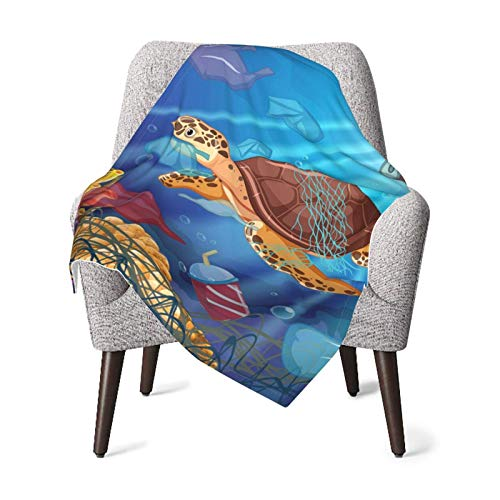 IUBBKI - Manta de felpa para bebé con tortuga marina y bolsas de plástico en el océano, manta de recepción para recién nacido súper suave y cálida para cuna, manta de invierno, color negro