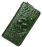 PIJUSHI Wristlet Wallet For Women Crocodile Leather Wallet Ladies Clutch Purse (1058 Green Croco)
