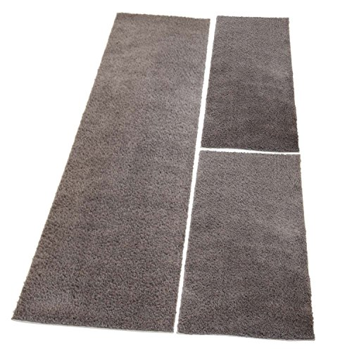 carpet city Bettumrandung Shaggy aus hochwertigen Micro-Polyester, Hochflor Teppich-Läufer in Einfarbig/Taupe für Schlafzimmer