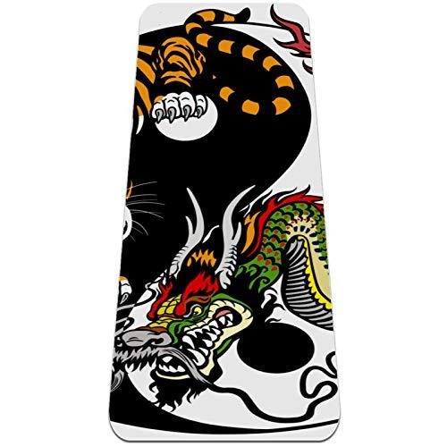 AIBILI Esterilla de yoga de 6 mm de grosor para hombres y mujeres – Esterilla antideslizante para yoga, pilates, estiramiento, suelo y ejercicios de fitness (72 x 24 x 6 mm) Dragon and Tiger Battle