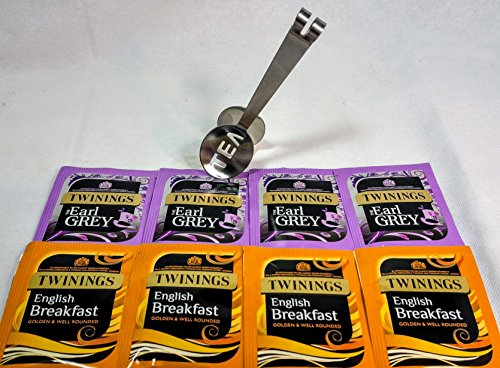 Twinings Mejor seleccion de tes: English Breakfast & Earl Grey 50 bolsitas de te con exprimidor de acero inoxidable.