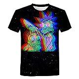 YUYUBAOER Camiseta Unisex Rick y Morty Manga Corta, Niños y Verano Adulto 3D Camisa Impresa 3D Chaleco Casual Cuello de la tripulación tee Shirts (100 cm - 5XL) black-4XL
