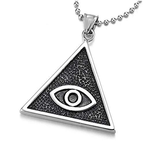 iMETACLII Mal de Ojo Triángulo Medalla Collar con Esmalte Negro, Colgante de Hombre Mujer, Acero, Bola Cadena 75CM