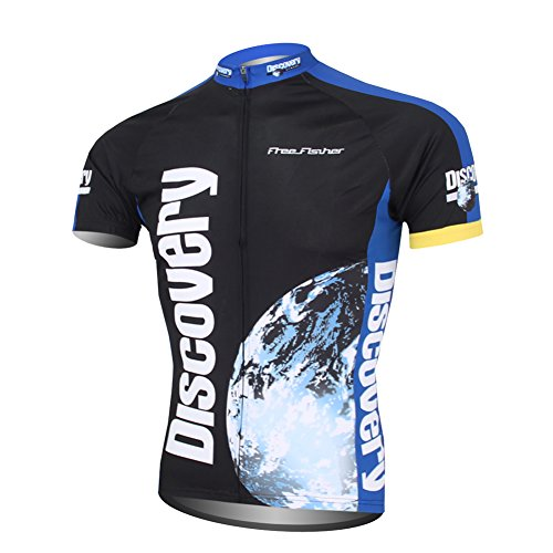 FREE FISHER Cyclisme Maillot de Manga Corta, Hombre, Negro/Azul, M