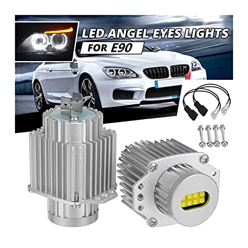 Wxi 2pcs Angel Eyes Ojos CANBUS 80W LED Marcador de Faros de la luz de Las Bombillas Free para -BMW E90 E91 3 Series 2005-2008 Super Blanco (Color : Silver)