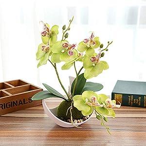 SanQing Artificial orquídea Bonsai Falso Flores con florero en Maceta Planta de Simulación Phalaenopsis Home Decor…