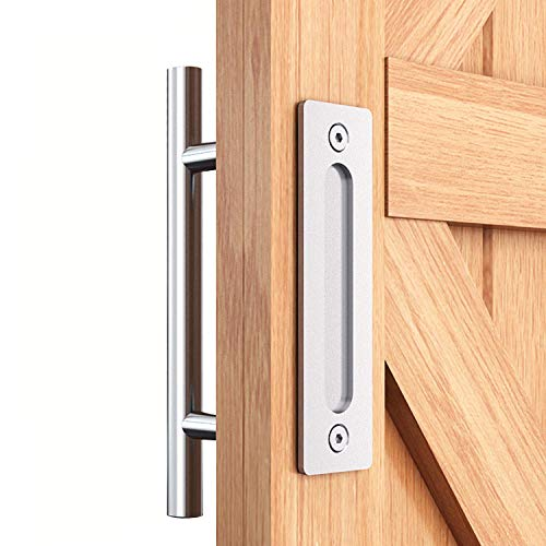 """EaseLife 12"""" Sliding Barn Door Pull Handle with Flush Hardware Set,Stainless Steel,Heavy Duty,Brushed Finish,Anti-Rust Anti-Corrosion,Easy Install"""