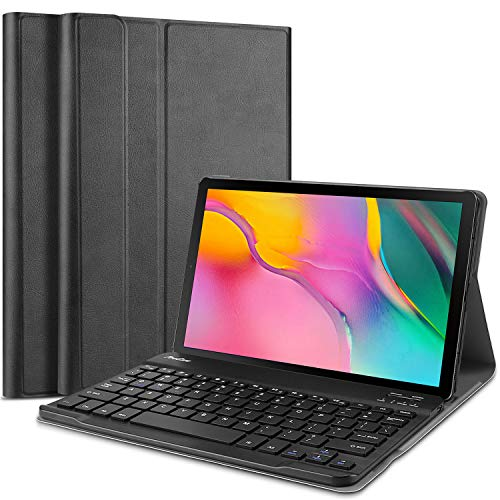 ProCase Samsung Galaxy Tab A 10.1 2019 Keyboard Case (SM-T510 SM-T515), Slim Shell Lightweight Smart Cover with Magnetically Detachable Wireless Keyboard -Black