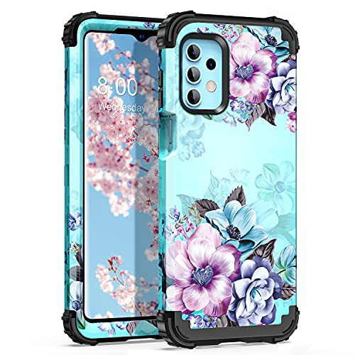 Casetego Compatible with Galaxy A32 5G Case,Galaxy A12 Case,Floral Three Layer Heavy Duty Sturdy Shockproof Full Body Protective Cover Case for Samsung Galaxy A32 5G and A12,Blue Flower