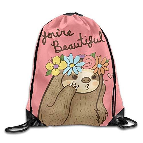 Etryrt Prämie Turnbeutel/Sportbeutel, Beautiful Sloth Drawstring Backpack Rucksack Shoulder Bags Training Gym Sack for Man and Women