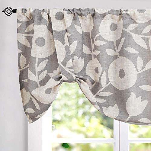 jinchan Tie Up Floral Valances for Kitchen Living Room Linen Textured Window Curtain Rod Pocket Valance Curtains 1 Panel 18 inch White