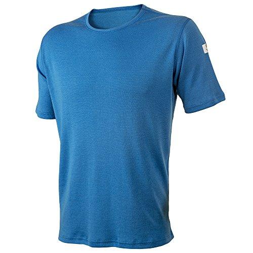 Janus Summerwool 100% Merino Wool Men's T-Shirt Machine Washable. Made in Norway (Blue, Medium)